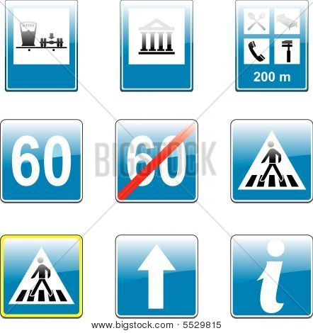 Vector Isolated European Road Signs