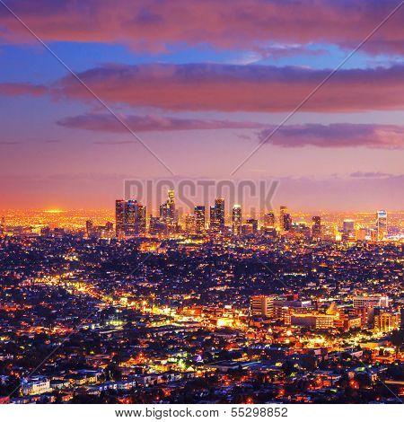 Los Angeles city skyline at dusk after sunset.