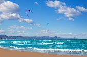 stock photo of kites  - Kite surf in Denia Oliva Gandia in Valencian Community at Mediterranean sea - JPG