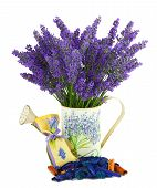 image of sachets  - Watering can with lavender sachet on white - JPG