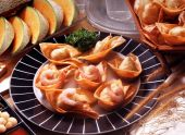 pic of wanton  - fried wanton with plate on studio setting - JPG