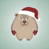 image of wombat  - Illustration of a funny hipster wombat wearing gloves and Santa - JPG