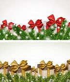 Christmas backgrounds with fir twigs and gift boxes. Vector banners.