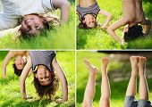 foto of upside  - Kids playing upside down outdoors in summer park walking on hands - JPG