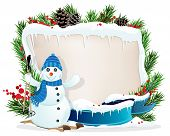 stock photo of winterberry  - Snowman on Skis and Christmas wreath with pine cones and blue ribbon - JPG