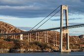 Automobile Cable-stayed Bridge. Rorvik Town, Norway