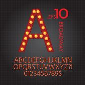 image of broadway  - Set of Red Broadway Alphabet And Numbers Vector - JPG