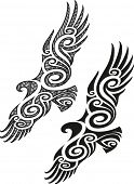 Maori styled tattoo pattern in a shape of eagle. Raster illustration.