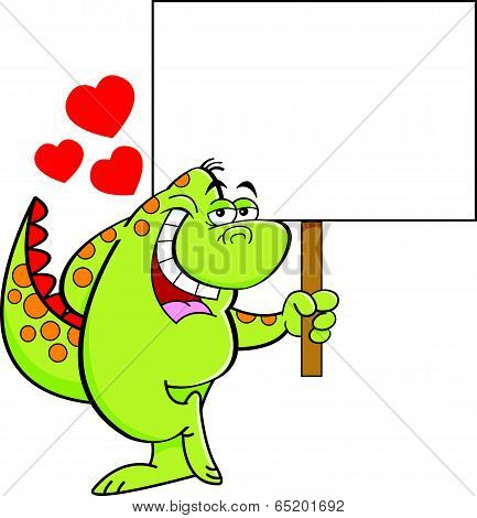 Cartoon dinosaur in love and holding a sign