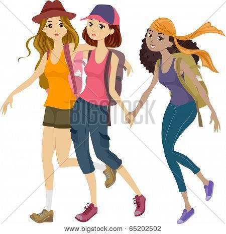 Illustration of a Group of Teens Off to a Mountaineering Trip