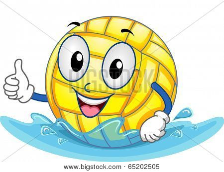 Mascot Illustration Featuring a Water Polo Ball Giving a Thumbs Up