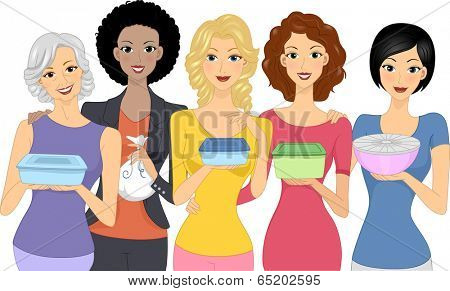 Illustration of Women Carrying Different Food Containers to a Party