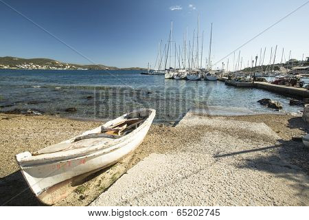 SYROS, GREECE - APR 30, 2014: Marina of Syros, is a Greek island in the Cyclades archipelago in the Aegean Sea, located 78 nautical miles (144 km) south-east of Athens. The largest town are Ermoupoli.