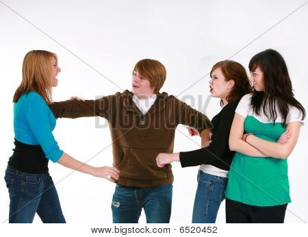 Teen Girls Fighting Over Teen Boy