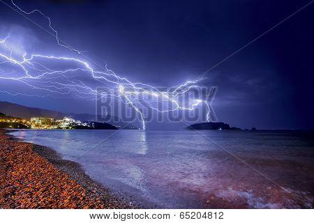 Thunderstorm Over Adriatic Sea Coastline.