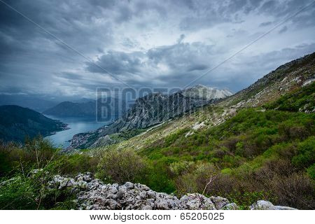 Boka Kotor Bay From Above. Montenegro