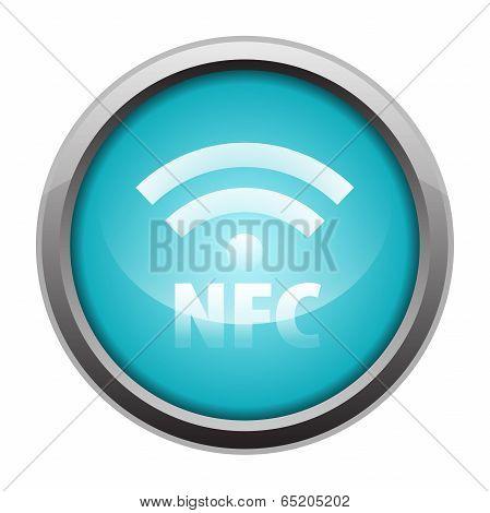 NFC metallic icon button blue