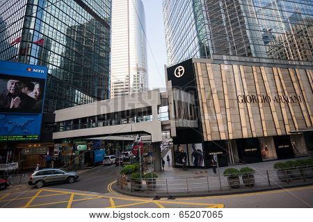 HONG KONG - SEPTEMBER 27, 2011: Central is the central business district Hong Kong, it is located on of Hong Kong Island. Many multinational financial corporations have their headquarters in the area.