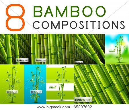 Set of vector nature bamboo designs. Stems, leaves, landscapes