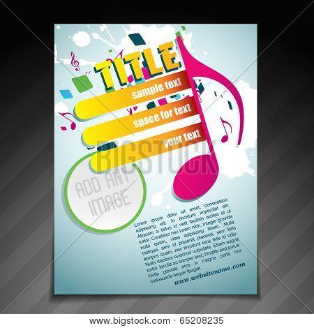 vector stylish music brochure flyer template illustration