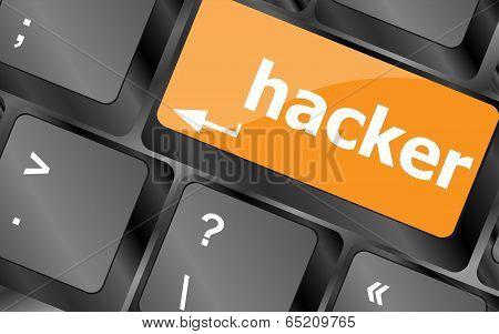 Hacker Word On Keyboard, Attack, Internet Terrorism Concept