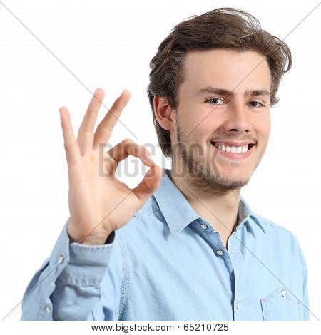 Young Happy Positive Teenager Man Gesturing Ok