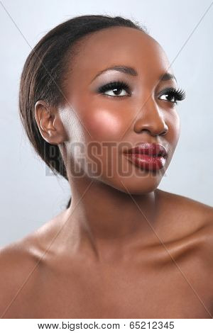 Beautiful African American Woman With Beauty Makeup