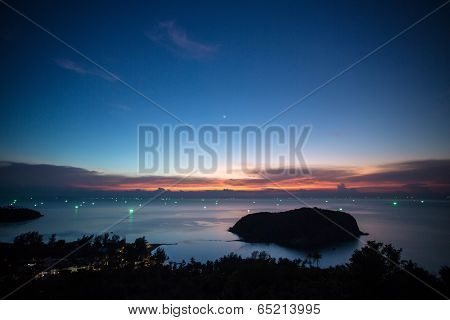 Beautiful sunset sky over the small Koh Ma island near Koh Phangan island in Thailand