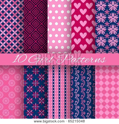 10 Bright girl vector seamless patterns (tiling). Pink and blue