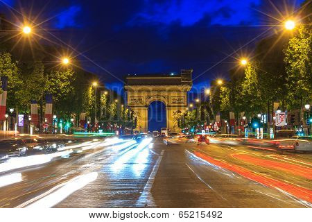 PARIS - MAY 7: Arc De Triomphe Paris At Sunset  on 7 may 2014.