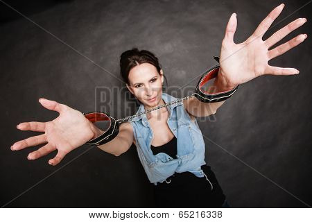 Arrest. Criminal Woman Prisoner Showing Handcuffs