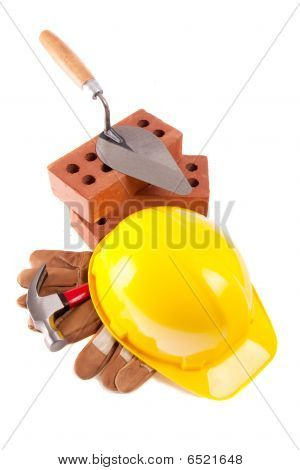 Trowel  Bricks Hammer & Leather Glove