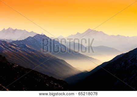 view from Furkapass to Andermatt, canton Graubunden, Switzerland
