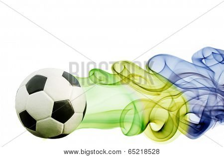 Soccer ball and brazil`s flag colors - World cup of Brazil 2014