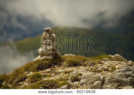 Pile of stones near a mountain path