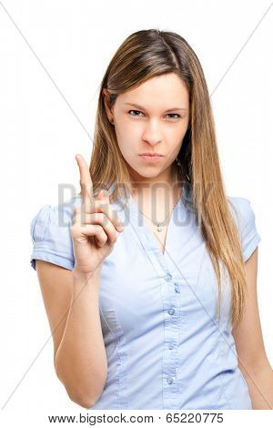 Young angry woman menacing you