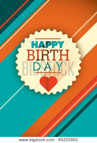 Modern happy birthday card design. Vector illustration.