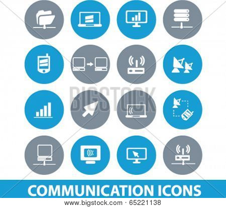 communication, connection, network, server buttons, icons set, vector