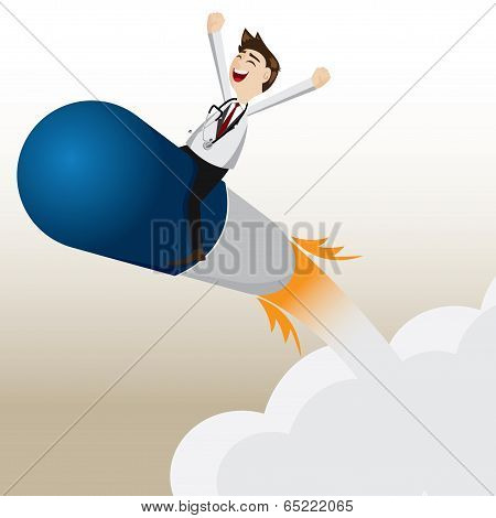 Cartoon Pharmacist Riding Capsule Missile