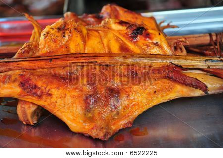 smoked chicken meat in the market place