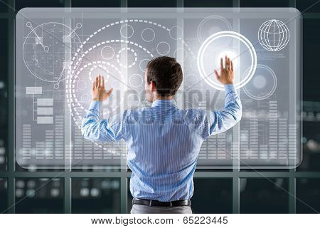 businessman working with virtual technologies