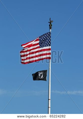 American and POW/ MIA flags in Brooklyn