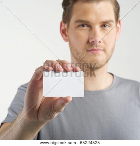 Man Holding Card