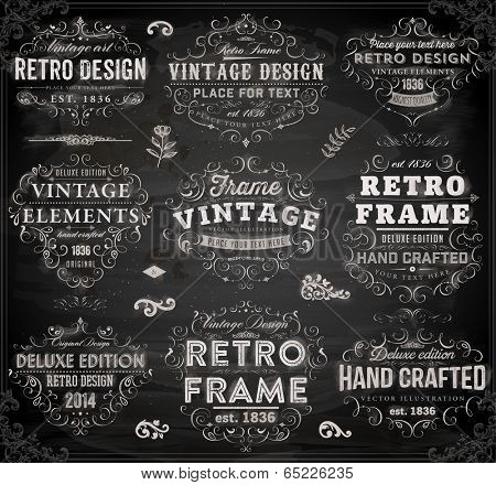 Vintage Frames and Scroll Elements. Chalkboard Style.