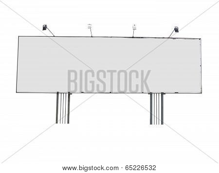 Billboard Advertising Panel With Empty Space And Light Projectors Isolated