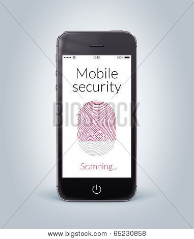 Front View Of Black Smart Phone With Mobile Security Fingerprint Scanning On The Screen