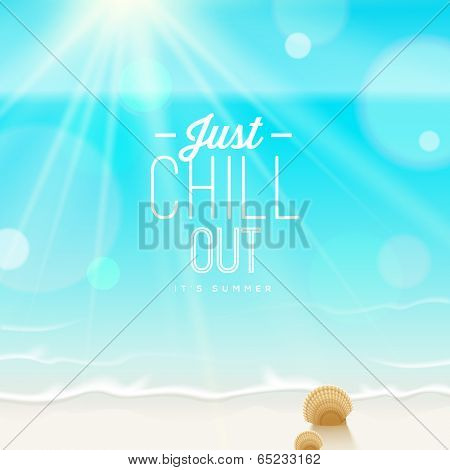 Tranquil scene - sea shore and type design - vector summer vacation illustration