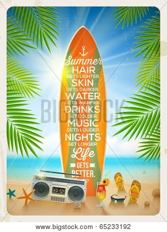 Vintage vector illustration - Old surfboard with summer saying and retro cassette recorder on the tropical beach