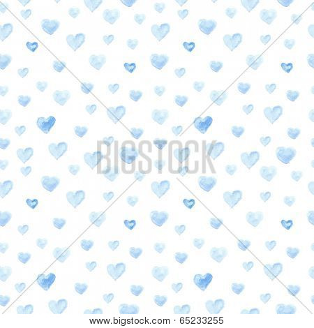 Seamless  pattern from watercolor paint blue hearts. Vector illustration for your design.