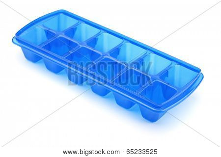 Blue plastic ice cube tray isolated on white